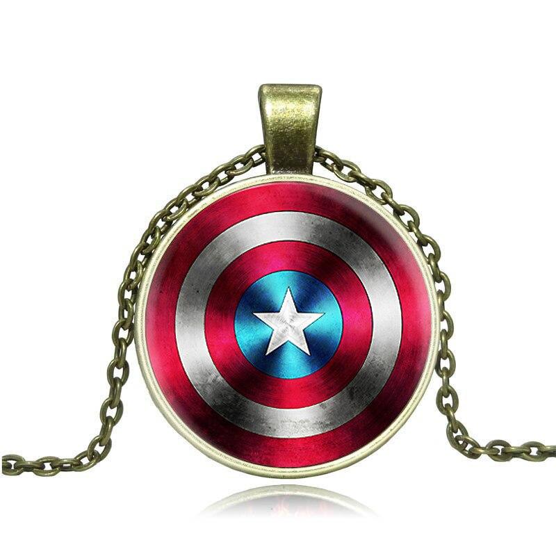 a24c8778c63 Moda anime moeda colar steampunk alloy the avengers capitão américa escudo  estrela arte em vidro colares   pingentes homens