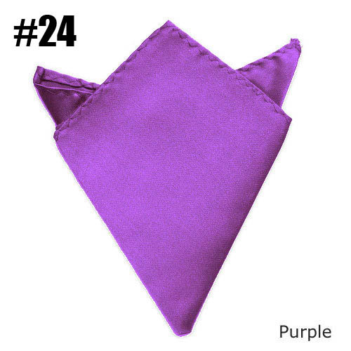 Fashion Solid Color Handkerchief Mens Satin Pocket Square To Match Suits Purple