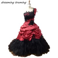 Gothic Black Wedding Dress 2018 Black And Red Ball Gown Ruffles Appliqued Lace Long Victorian Halloween