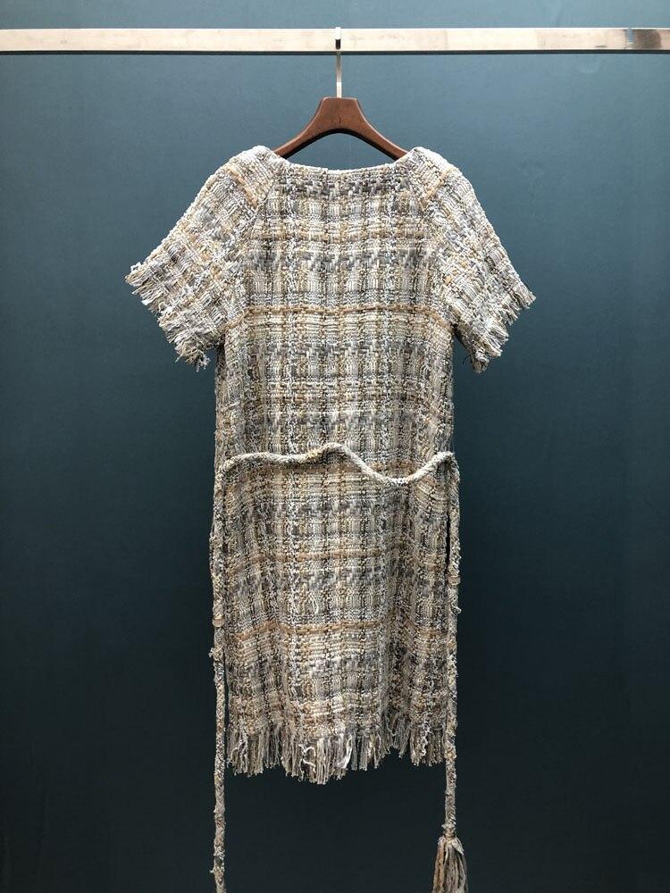 18 autumn Fashion show women's high-end quality tweed woven lace tassel dress Short sleeve miniskirt lattice Belt mini dress 15