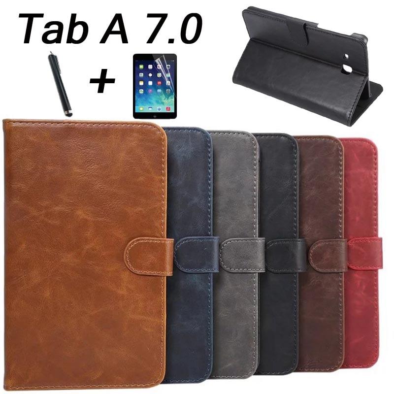 Pour Samsung Tab A6 7.0 couverture De Luxe De Mode Flip Stand PU couverture En Cuir cas Pour Samsung Galaxy Tab Un 7.0 T280 T285 + stylo + film
