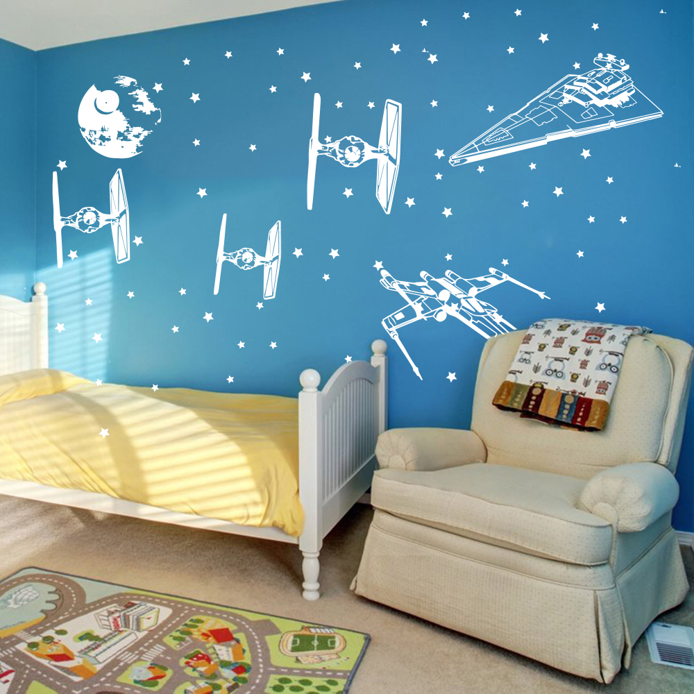 Cartoon Star Wars Spacecraft Star fighters  Wall Decal Boy Room Kids Room Star Wars Airplane Aircraft X Wing Wall Sticker Vinyl  (3)