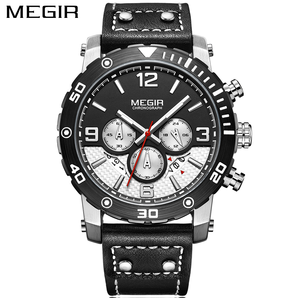 New Sport Watches For Men Luxury Brand MEGIR Quartz Watch Army Military Calendar Leather Chronograph Wrist Watch Men Clock Male megir men s wrist watch top luxury brand mens chronograph clocks military sport army clock men male classic quartz watches 3010