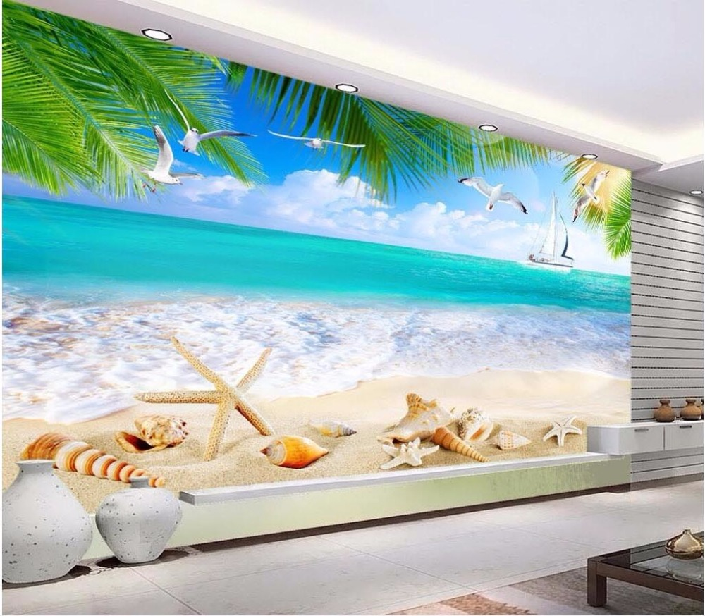 Custom mural 3d room wallpaper Ocean beach shell painting wall