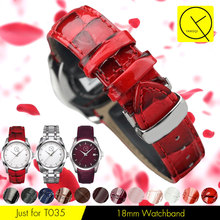 Genuine Leather Watch Band Replacement for Tissot 1853 T-CLASSIC COUTURIER T035 Woman Watchstrap 18mm Purple Pink Red