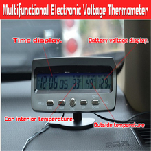 Car Calendar Clock and Voltmeter Car Inner and Outer Thermometer LCD Display Car Supplies цена