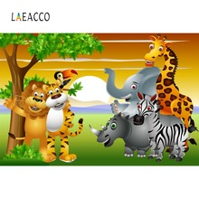 Laeacco Safari Birthday Party Jungle Animals Baby Cartoon Poster Photo Backdrops Photographic Backgrounds Photocall Studio