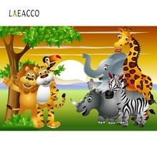 Laeacco Safari Birthday Party Jungle Animals Baby Cartoon Poster Photo Backdrops Photographic Backgrounds Photocall Photo Studio laeacco photographic backgrounds mask ribbons birthday party celebration baby newborn photo backdrops photocall photo studio