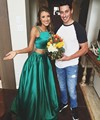 H007 Vestido De Festa Green Satin Prom Dresses 2016 Two Pieces robe de soiree Formal Pageant Party Prom Dress Vintage Homecoming