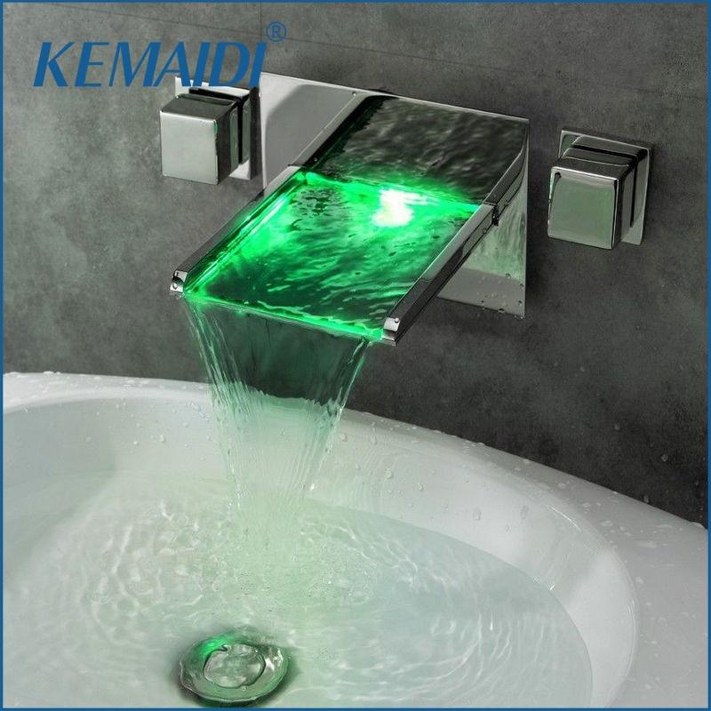 KEMAIDI LED Waterfall Faucets,Mixers & Taps LED Mixer Bathtub LED Faucet 3PCS Set JN6403 No Need Battery 3 Holes Wall Mounted