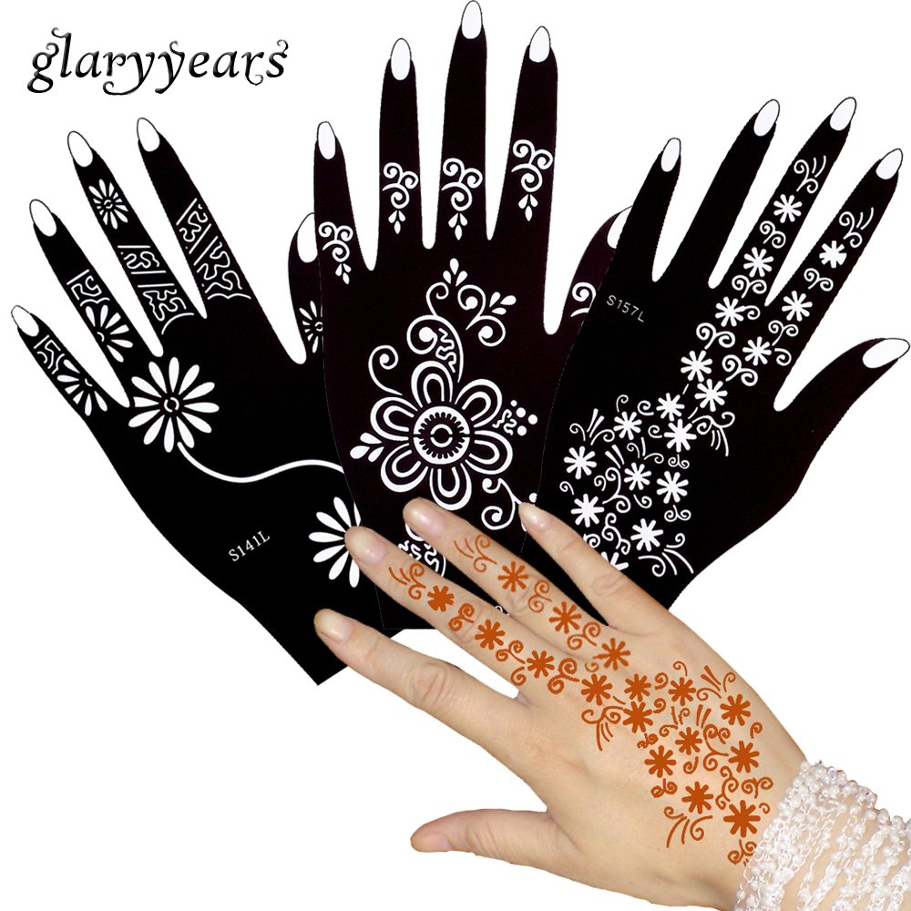 glaryyears 3 Pairs Mehndi Henna Tattoo Stencil Henna Pate Drawing for Hands Finger Art Airbrush Painting Daisy Temporary S100#03