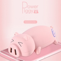 New 10000mah Lovely pig Power Bank Portable Powerbank Battery pig Cartoon Design Charge For iphone5 6s xiaomi mi5 free shipping