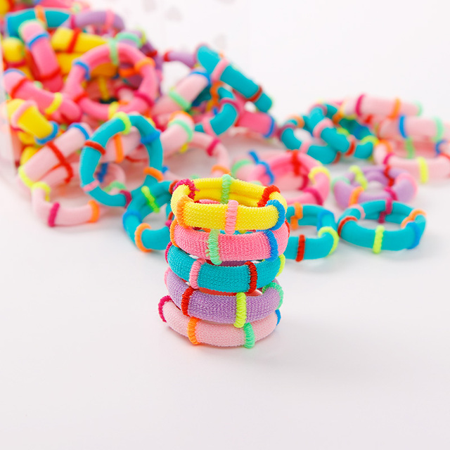 100PCS/Lot 3CM Cute Small Ring Rubber Bands Tie Elastic Hair Band 3