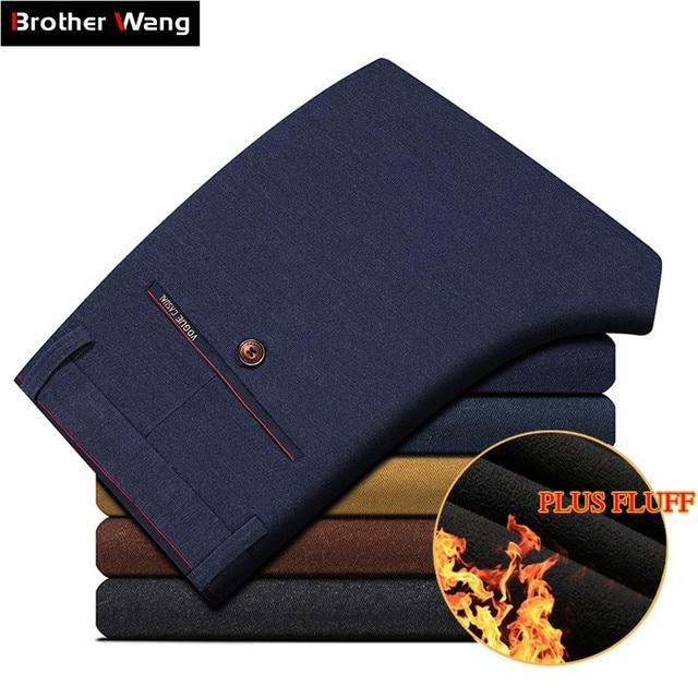 2020 Winter New Men Warm Casual Pants Business Casual Elasticity Slim Thick Plus Velvet Trousers Male Brand Clothes Khaki Navy