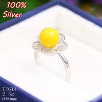 100% 925 ayar-gümüş-takı kadınlar Için Büyük yaprak çiçek Yüzük Boş 6 MM Ayarı Boncuk Inci Taş platin Gümüş