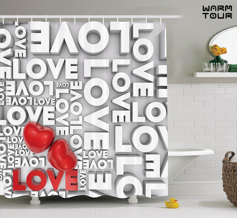 Romantic shower curtain - Warm Tour Hearts Love You Message Romantic Shower Curtain Valentines Day Springtime Cheerful Art Bathroom Curtain In Shower Curtains From Home Garden On