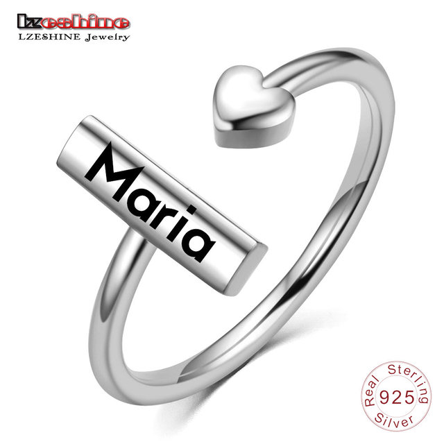 LZESHINE Customize Engraved Name Ring Silver S925 Personalized Custom Adjustable