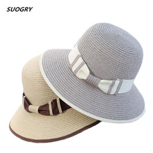 2018 New Summer Wide Brim Beach Women Sun Straw Hat Elegant Cap For UV protection black bow straw hats girls hot