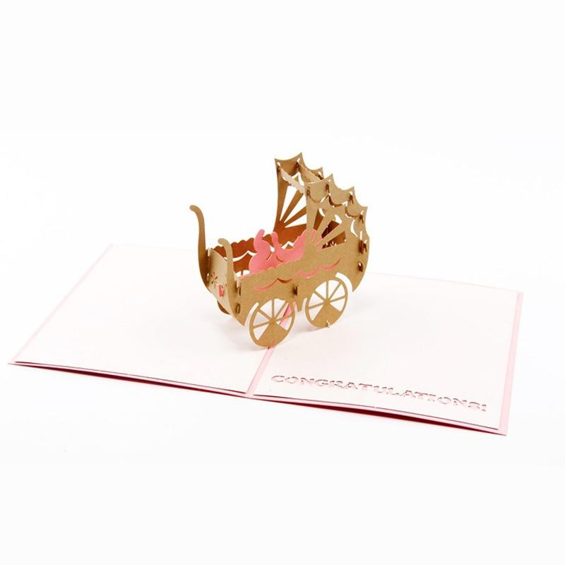 (10 Teile/los) Handgemachten Papierkunst Carving 3d Pop Up Grußkarte Pink & Blue Kinderwagen Wagen Geburtstag Karte Für Baby Dusche