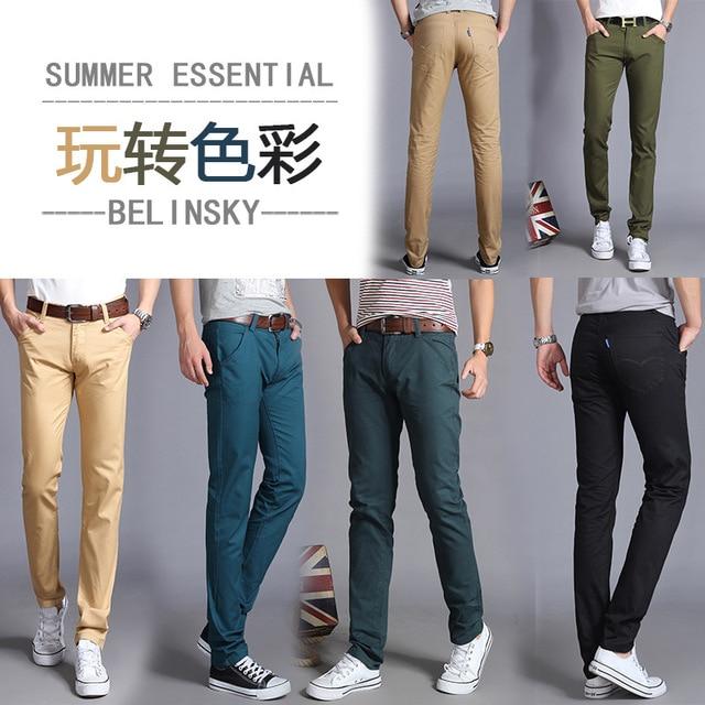 2017 New Fashion Brand Mens Pants Straight Pants Chinos Men Casual