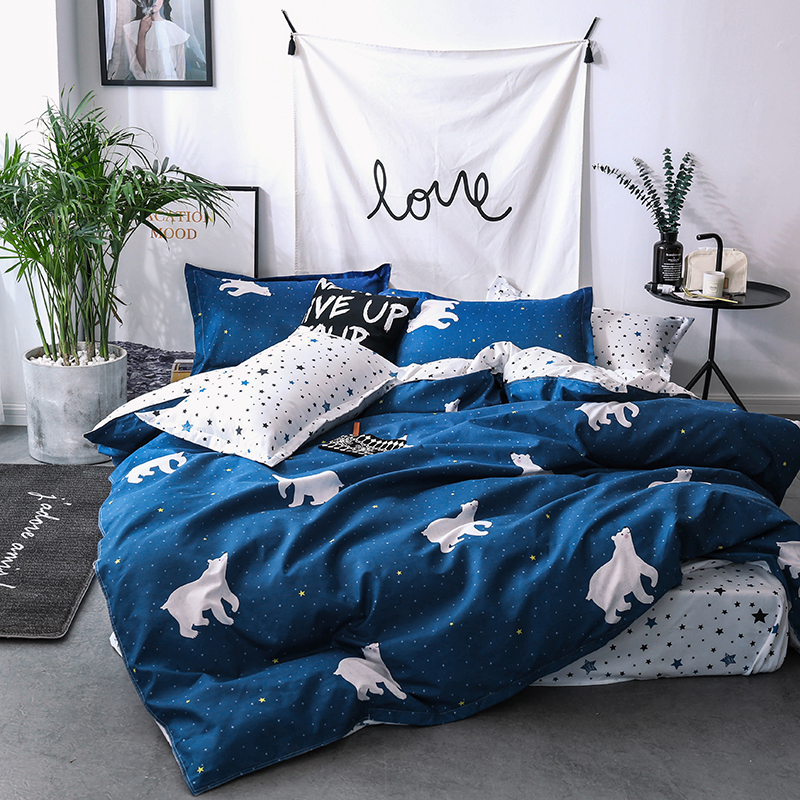Home Textile Cartoon Polar bear Bedding Sets Children's bedclothes Bed Linen Duvet Cover twin queen king Bed Sheet Pillowcase