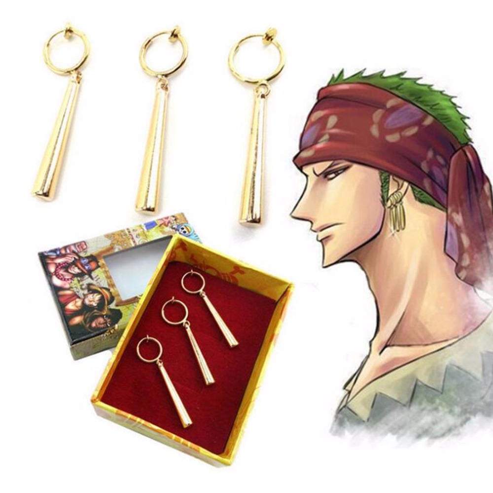3pcs Anime one piece Roronoa Zoro earring Headwear Pendant Cosplay Costumes Accessories