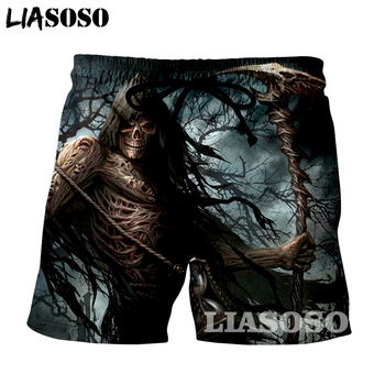 LIASOSO New fashion Summer Men Beach Shorts 3D Print Skull grim Reaper Men's  Boardshorts Trousers hot style G888 1
