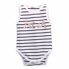 2017 toddler infant baby boy girls striped rompers sleeveless vest top cotton rompers size 0-24M