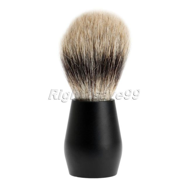 Barber Salon Shaving Brush Black Pure Badger Hair Aluminum Handle Face Beard Cleaning Men Shaving Razor Brush Cleaning Tools