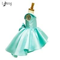Mooie Puffy Hoge Lage Grote Boog Mouwloze Custom Made tiffany blauw Bloem Meisje Baljurken Jurk Meisje Formele Chic jurken