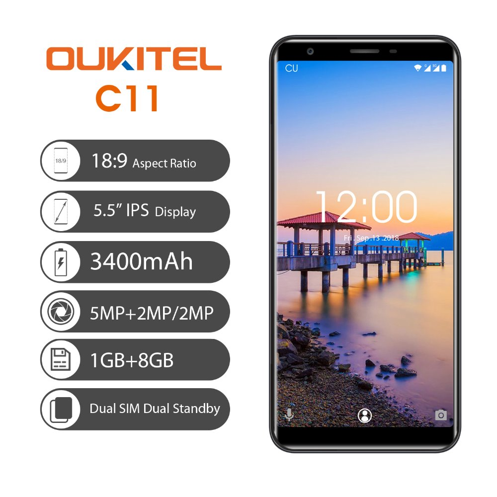 OUKITEL C11 5.5 18:9 Display 1G RAM 8G ROM MTK6580A Quad Core 3400mAh Battery 5MP+2MP/2MP Android 8.1 Unlock Smartphone  - buy with discount