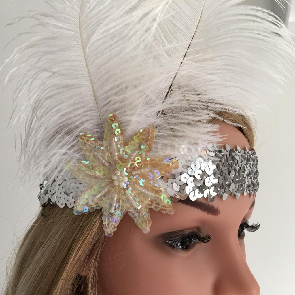 1920/'s FLAPPER Sparkle Dimante WHITE FEATHER CLIP FASCINATOR HEADDRESS WEDDING