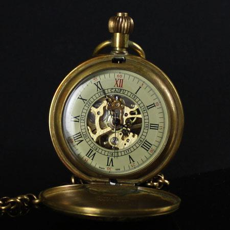 Old Brass Pure Copper Train Skeleton Mechanical Pocket Watch T200