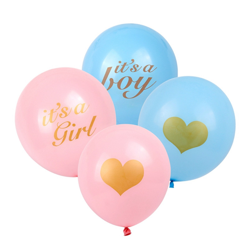 10pcs Heart Printed Latex Balloons Baby Shower Its A Boy Girl Pink Blue Balloons Baby Shower Gender Reveal Birthday Party Decor