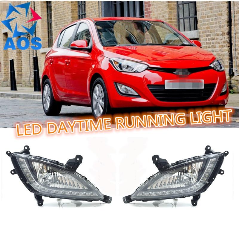 2шт/Set 12В 6000К светодиодные DRL дневного света водонепроницаемый автомобиля дневные ходовые огни для Хундай И20 2012 2013 2014