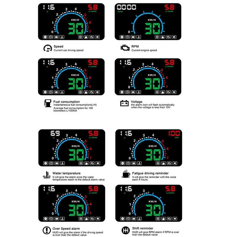 Image 2 - Geyiren HUD E350 5,5 'HUD Автомобильный дисплей Авто OBD2 скоростной сигнал светодиодный лобовое стекло проектор данные автомобильные инструменты для диагностики электроники 2019-in Проекционный дисплей from Автомобили и мотоциклы