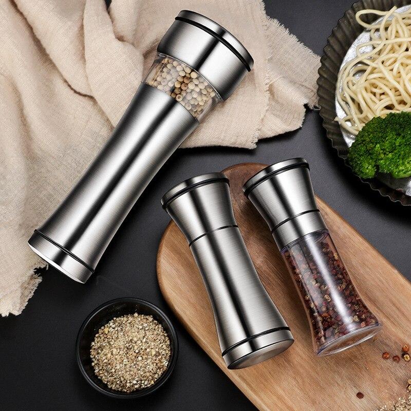 New 304 stainless steel pepper grinder Manual Glass Black Pepper Grinder  Kitchen salt coffee Condiment Bottle Tools Accessories