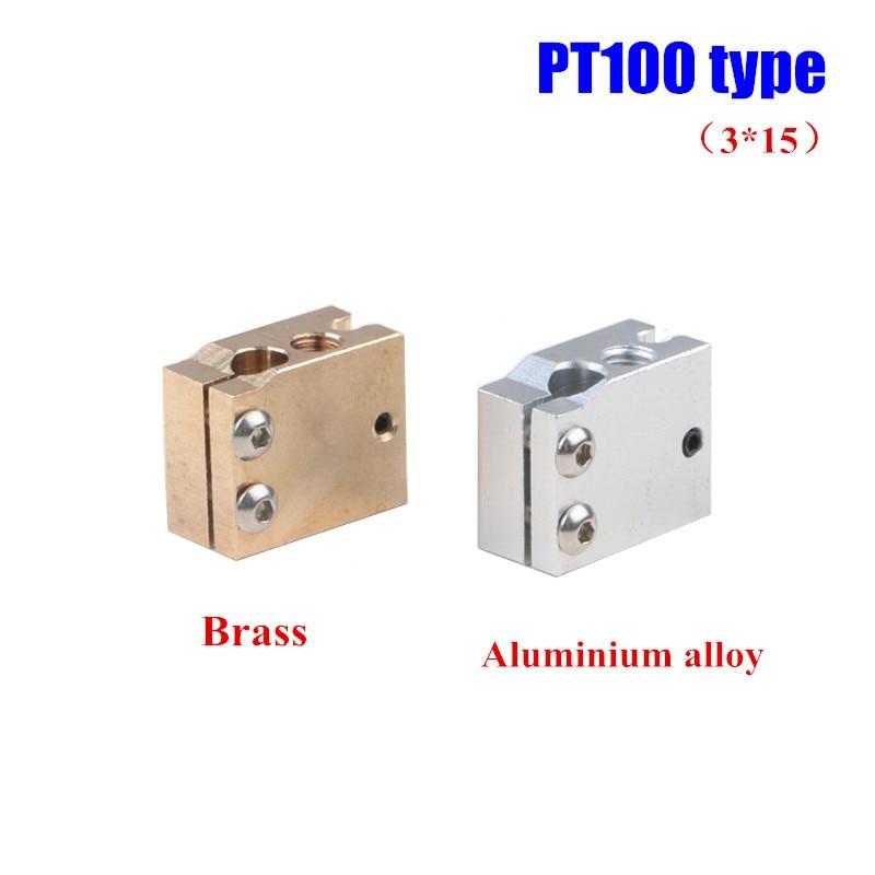 1 pcs Alta Temperatura Latão/liga de Alumínio vulcão tipo cartucho aquecedor do bloco para termistor/PT100 sensor V6 hotend 3D impressora