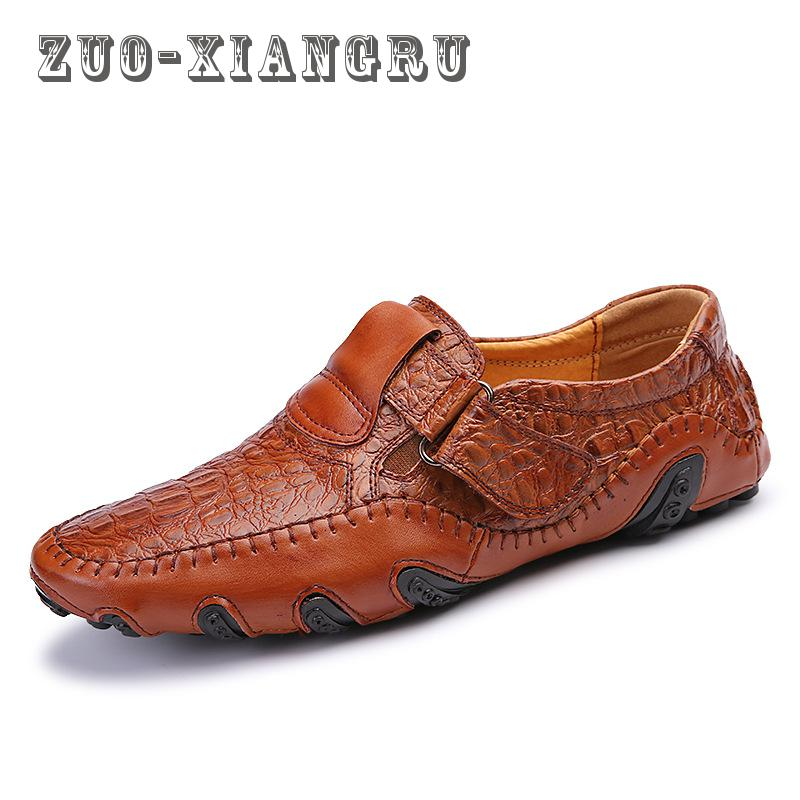 spring Breathable Shoes Mens Casual Shoes Genuine Leather Slip On Brand Fashion hasp Shoes Man Soft Comfortable High Quality goodster man shoes slip on genuine leather shoes soft bottom leather breathable and comfortable men casual shoes drive