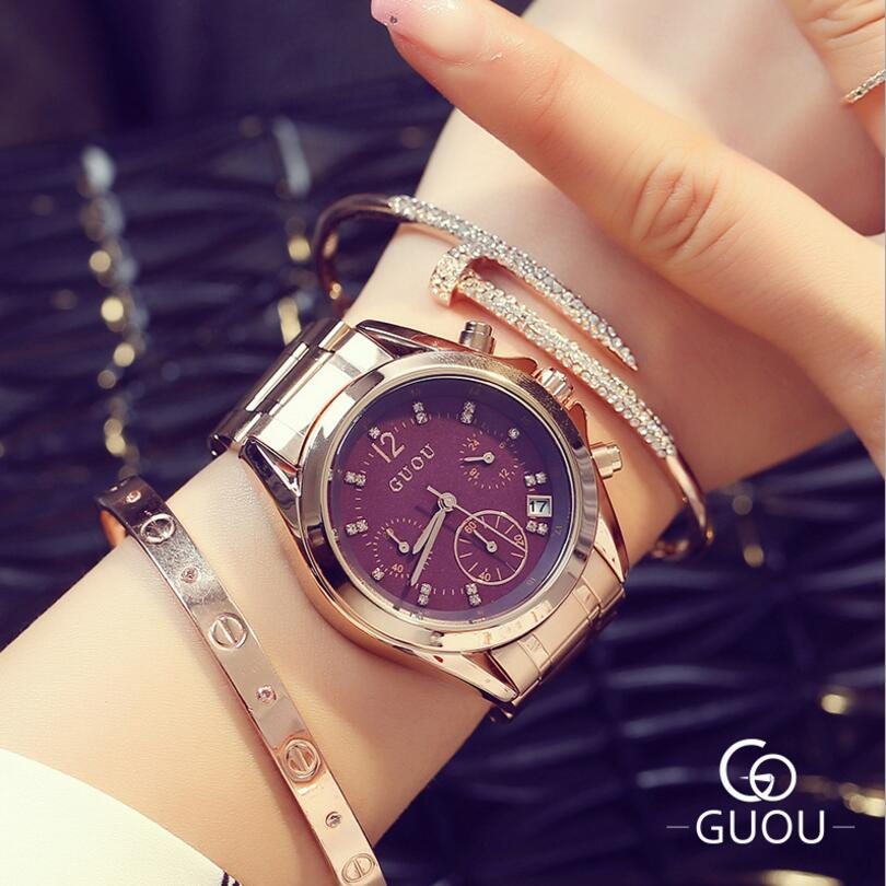 GUOU Top Luxury Diamond Watch Auto Date Rose Gold Watch Women Watches Stainless Steel Fashion Women's Watches Clock Saat Relogio guou luxury rose gold watch women watches fashion women s watches top brand ladies watch clock saat reloj mujer relogio feminino