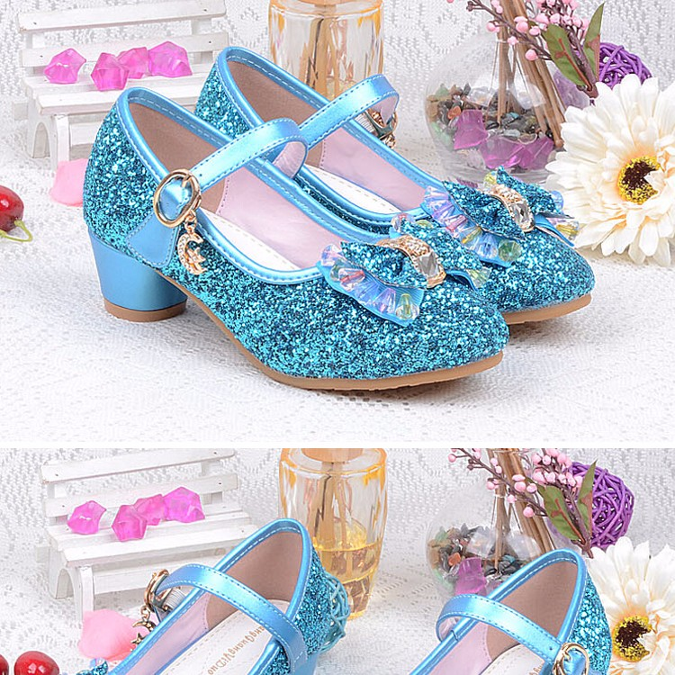 1_012016 spring Kids Girls High Heels For Party Sequined Cloth Blue pink Shoes Ankle Strap Snow Queen Children Girls Pumps Shoes