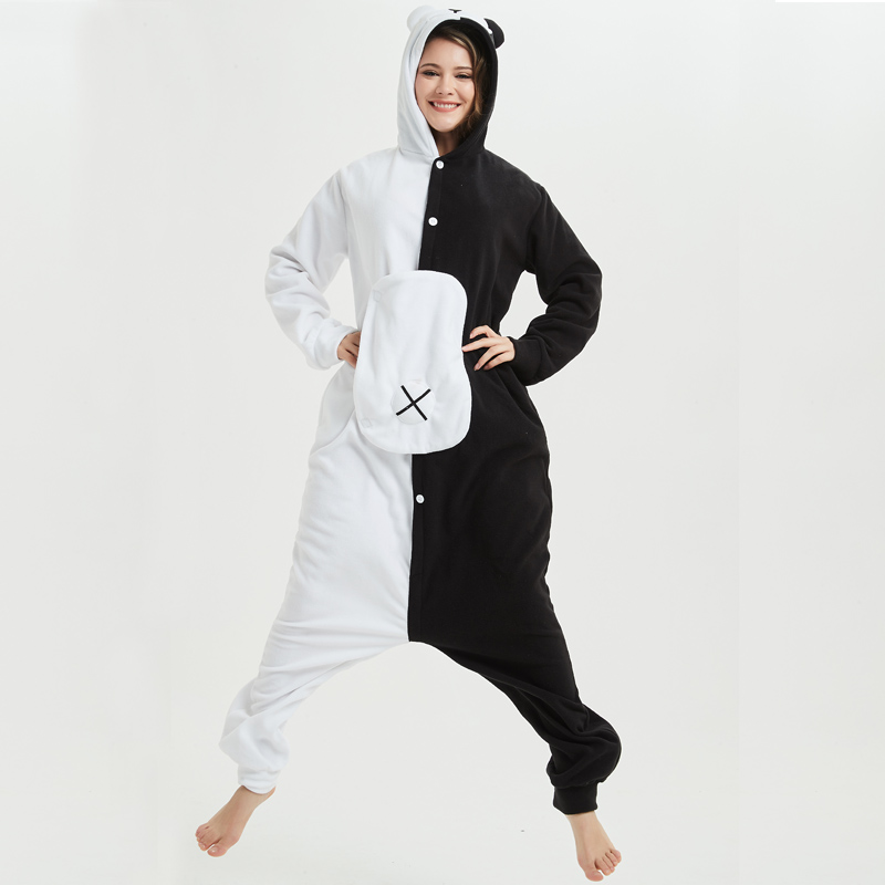 Cartoon Black White Bear Kigurumi Fleece Onesie Cosplay For Women Pajamas Halloween Carnival Masquerade Party Jumpsuit Sleepwear (2)