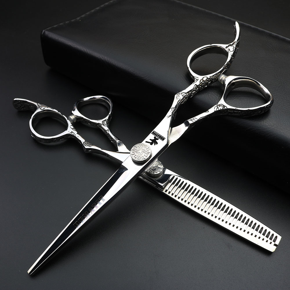 Professional hairdressing scissors japanese design 6 inch hairdressing scissors Black and white hairdresser hair clippers set