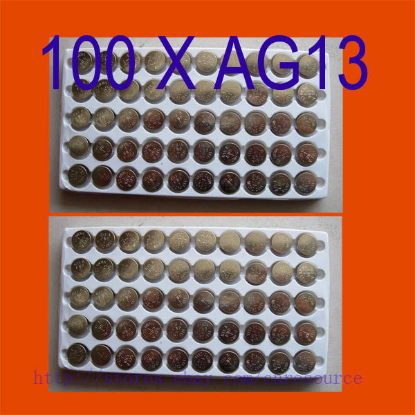 SHIP FROM USA 100PCS AG13 Button Cell Batteries <font><b>AG</b></font> <font><b>13</b></font> G13 <font><b>LR44</b></font> A76 N ship by air mail image