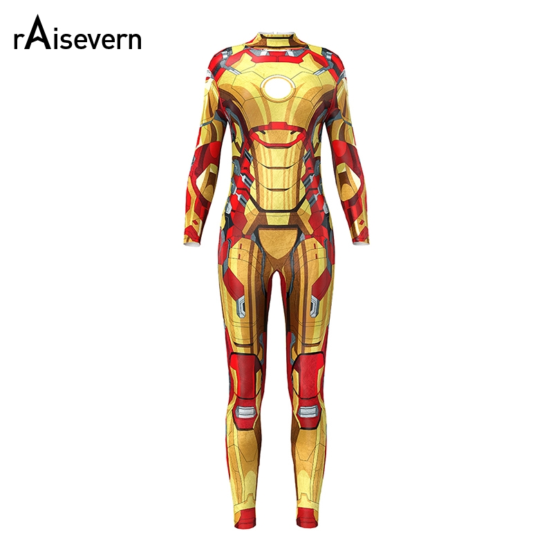 Avengers Infinity War Iron Man Jumpsuit Women Rose Skeleton Bodycon Fancy Playsuit Rompers Female Bodysuit Tracksuits Ladies