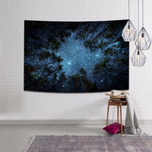купить 4 sizes Beautiful Night Sky Wall Tapestry Home Decorations Wall Hanging Forest Starry Night Tapestries For Living Room Bedroom по цене 369.29 рублей