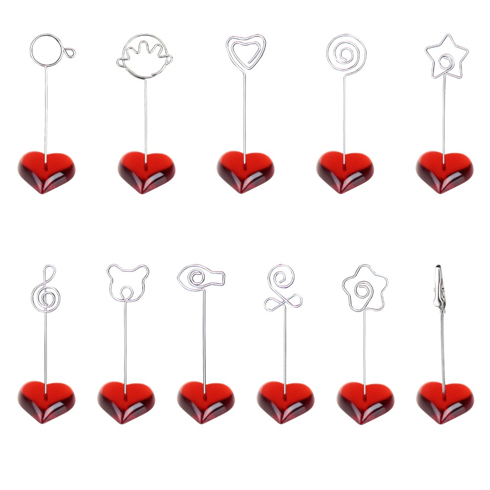 Red F heart stand wire card note picture memo photo clip holder ...