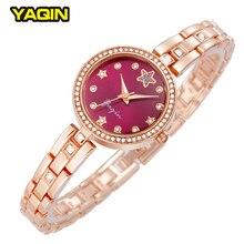 Calidad de la Marca de Lujo de Las Mujeres Relojes de Moda de Aleación De Pulsera Reloj de Señora Impermeable Rhinestone Reloj de Pulsera de Cuarzo Rosa de Oro