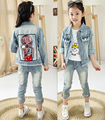 High quality Spring Autumn Fashion Lovely bright diamond girls denim Outerwear,fit for 2-7y Children coats girls denim Jacket
