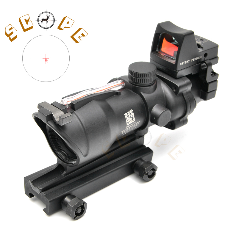 Tactical Trijicon Airsoft ACOG 4X32 Sight Scope Real Red Fiber Source Red Illuminated Rifle Scope w/ RMR Micro Red Dot trijicon mro airsoft holographic red dot sight shotgun scope hunting riflescope illuminated sniper gear for tactical rifle scope